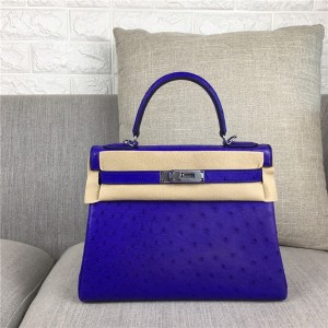 High Quality Fashion Violet Ostrich Leather Fashion Brand Bags 28cm 32cm