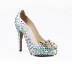 Sheepskin Women Exquisite Elegant Shoes With Colorful Rhinestone Butterfly