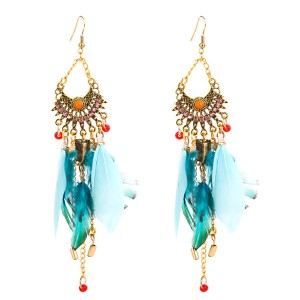Wholesale Europe And The United States Brand Women Blue Feather Earrings Bohemia Ethnic Earrings