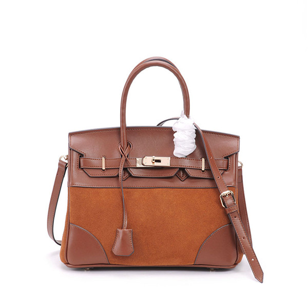 High Quality Tote Bags Brown Suede Handbag With Long Shoulder Strap