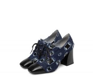 Women Denim Shoes 7.5cm High Heels