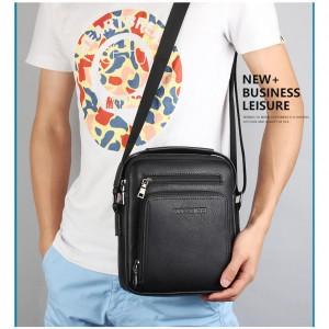 Mens PU leather shoulder messenger bag custom business casual crossbody tote bag