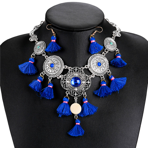 Most popular blue tassel necklace Europe and the United States famous brand necklace