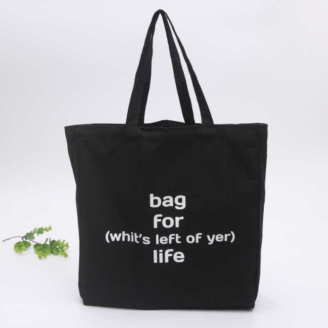 100% Cotton Canvas Tote Black Shopping Reusable Grocery Bag with print wholesale ^p