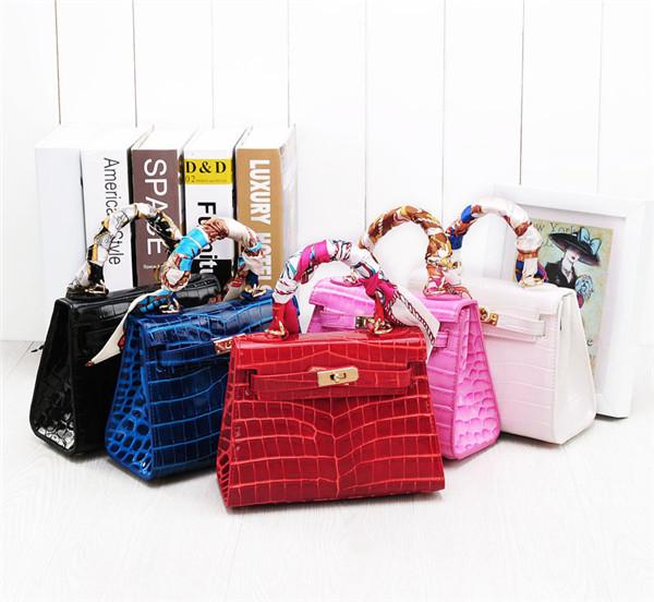 Crocodile Grain Leather Handbags For Women Brand Name Handbag Featured Image