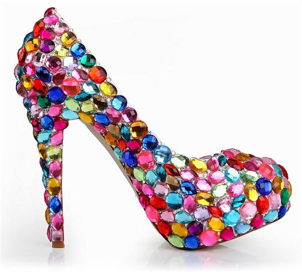 14cm Colored rhinestones sexy platform pumps shoes women