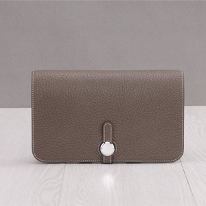 Grey Lychee Togo Leather Wallet