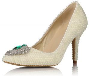 White Rhinestone Women Formal Shoes Heels