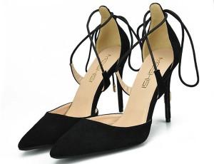 Black Suede Ankle Bandage Sandals Shoes Stilettos