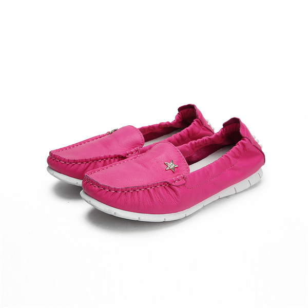Hot Pink Genuine Leather Women Driving Shoes With White Outsole