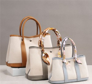 High Quality Canvas Bag For Lady Designer Bags With Cowhide Handle