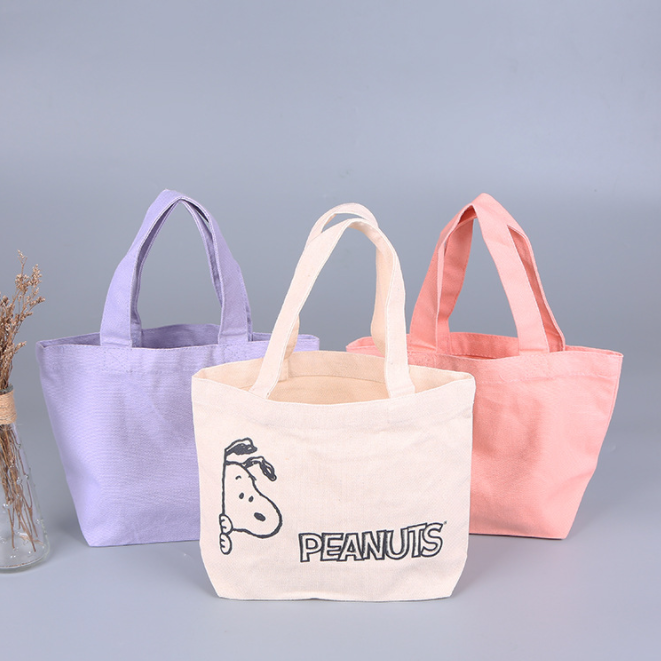 Colorful Pure Cotton Canvas Tote Bag Gusset Thick Customized Shopping Tote