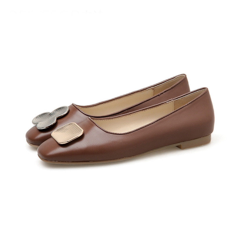 Nice Quality Brown Female Retro Square Toe Metal Buckle Shoes Featured Image