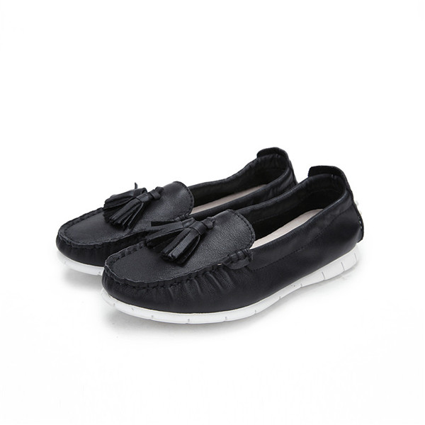 Black Cowhide Women Designer Shoes With White Outsole
