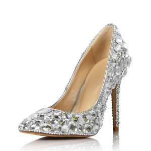 11cm Silver Rhinestone Stiletto Pumps Shoe
