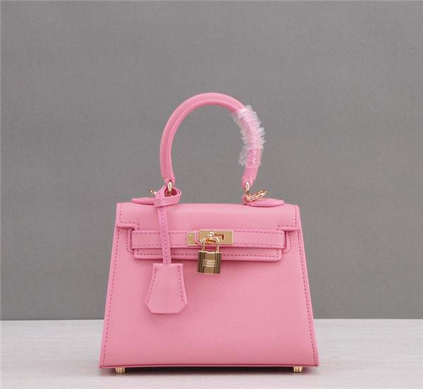 OEM Made Women Kelly Purses Mini Tote Bag Epsom Leather Pink
