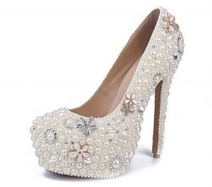 16cm High Heel White Crystal Rhinestone Women Luxury Designer Shoes