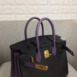 High Quality Fashion Pink Ostrich Leather Tote Bags 30cm 35cm