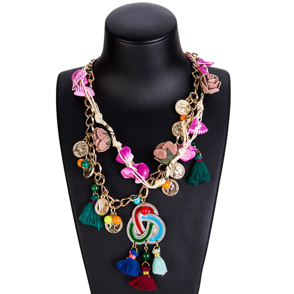 Collarbone Chain Necklace Women Fashion Multi-Layer Woven Necklace Flower Coin Sweater Chain Neckwear Supplier