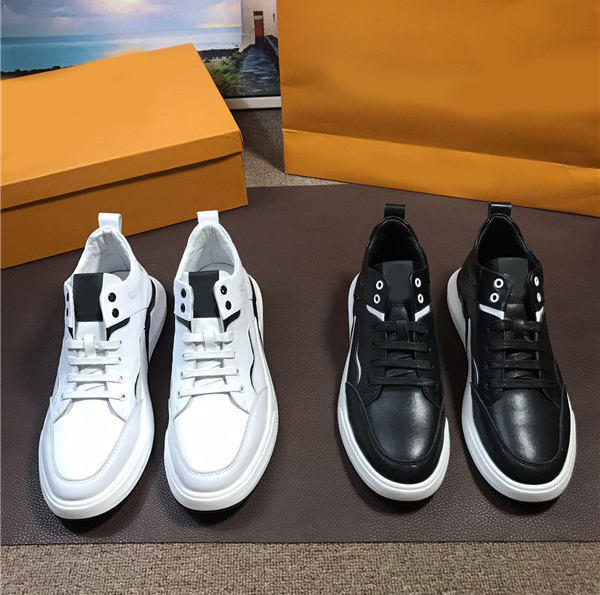 OEM Men Italian Sneakers For Man Shoes Cowhide Leather White And Black