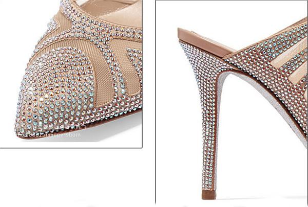 Famous Brand Designer Sandals With Rhinestone Diamond Crystal