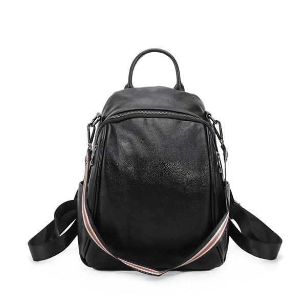 High Quality Fashion Student School Backpacks Black Cowhide