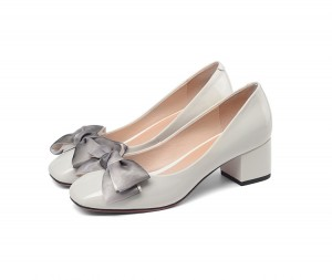 Women Patent Leather Square Toe Dress Shoes Middle-Heeled