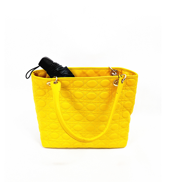 Lady's Yellow Big Leather Tote Bag Handbag Single-shoulder Bag