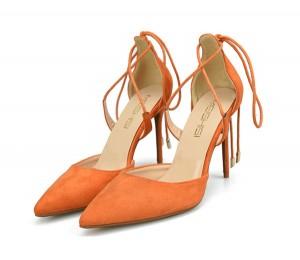 Orange Suede Big Yard Sandal Pumps Stilettos  With Ankle Bandage