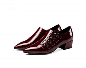 wine red leather low heel pointed shoes for women