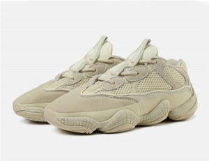 Beige Suede Designer Lovers Trainers Shoes With Mesh