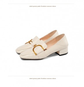 Women Beige Leather Low-Heeled Shoes