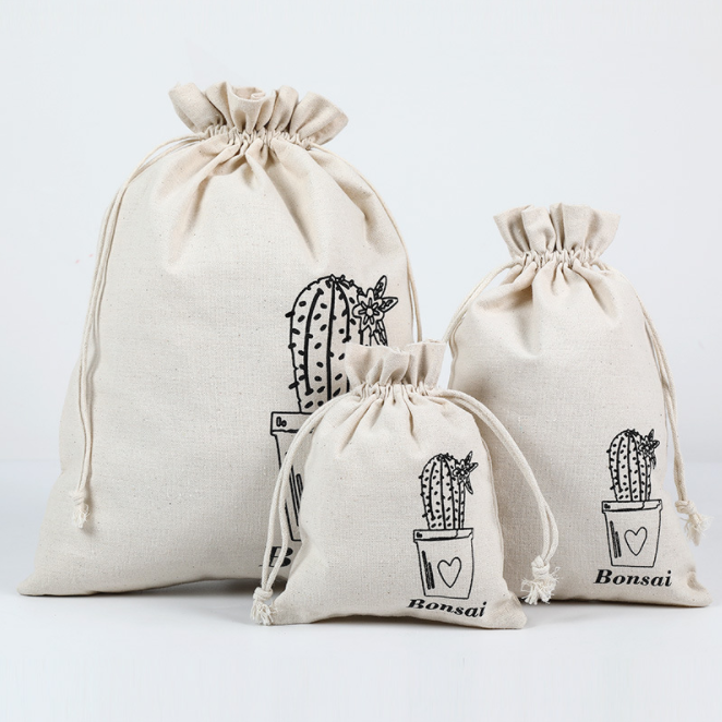 Bag manufacturers custom-made eco-friendly drawstring cotton linen bag rice bag to store drawstring cotton linen bundle pocket