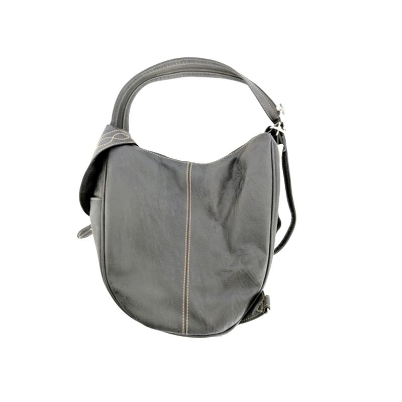 Linen Canvas PU material splicing College wind shoulder Bag