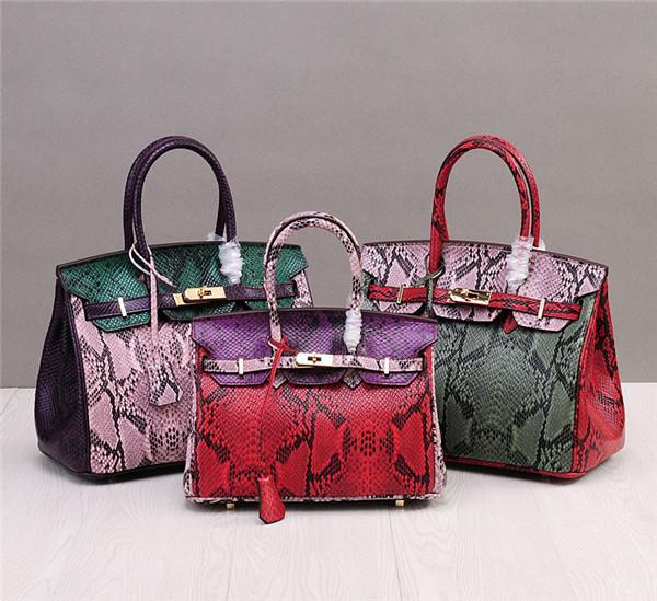High Quality Famous Brand Bags Handbags Ladies Snakeskin Grain Leather Bags Birkin