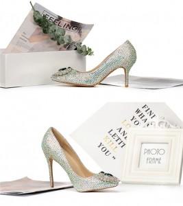 Women Fashion Crystal Stiletto Shoes Heels