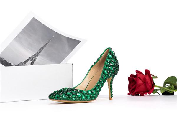 Green Rhinestone Shoes Women High Heels Featured Image