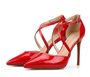 Red Patent Leather High Heel Sandals Pumps With Ankle Strap