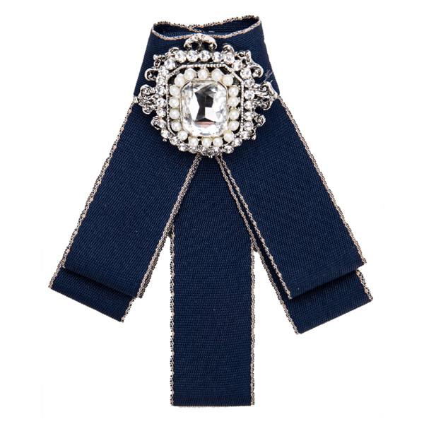 Beautiful Girls Boutonniere Women Fashion Neckwear Blue Multi-Layer Canvas Corsage Circle Rhinestone-Studded Brooch