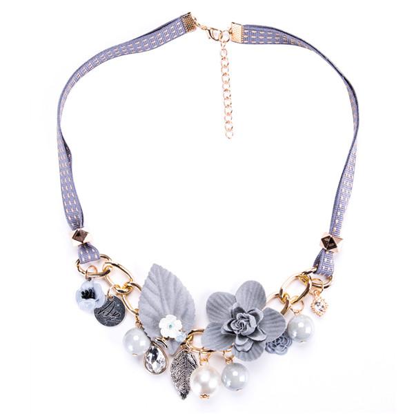 Light Purple Collarbone Chain Necklace Plastic Flower Leaves Necklace Women Fashion Necklace Female Bohemian Style Necklace