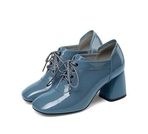 Blue Patent Leather Square Toe Big Heel Shoes 7cm