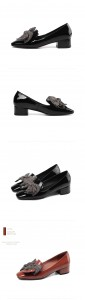 Women Low Heel Trendy Shoes Real Leather