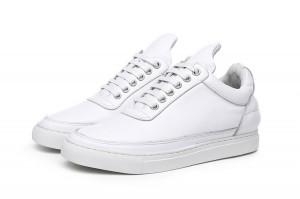 Men Lace-Up Casual Shoes White Cowhide
