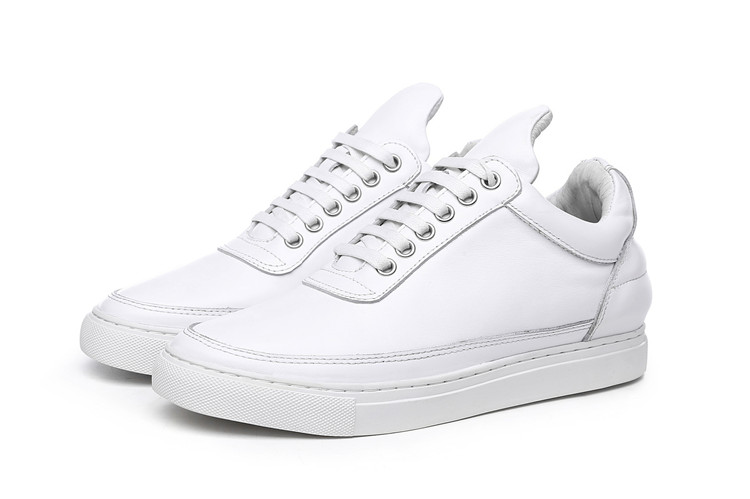 Men Lace-Up Casual Shoes White Cowhide Featured Image