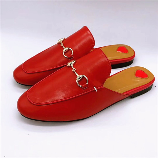 Red Cowskin Half-Slippers Loafers Couple Flat Shoes With Horsebit Buckle