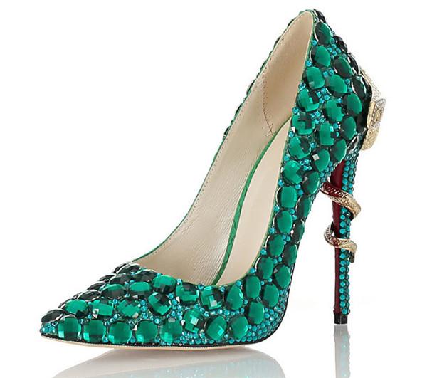 Women Exquisite Green Rhinestone Stiletto Shoes