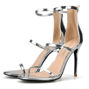 Nude Leather Ankle Strap High Heels Sandals Stiletto