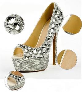 Silver Diamond 16cm Super High Heels Platform Pumps Women
