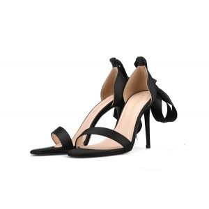 Black Silk Satin Stiletto Sandals With Silk Ankle Strap