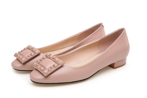 Women Nude Color Leather Low Heel Trendy Shoes Featured Image